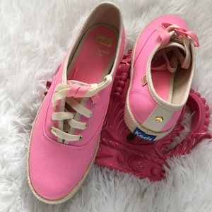 Keds For Kate Spade Neon Pink Canvas Sneakers